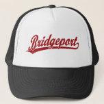 """Bridgeport script logo in red trucker hat<br><div class=""""desc"""">Bridgeport script logo in red</div>"""