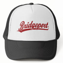 Bridgeport script logo in red trucker hat