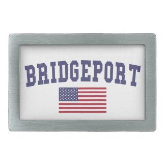 Bridgeport US Flag Rectangular Belt Buckle