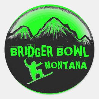 Bridger Bowl Montana green snowboard stickers