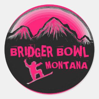Bridger Bowl Montana pink snowboard stickers