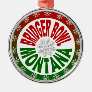 Bridger Bowl Montana red green holiday ornament