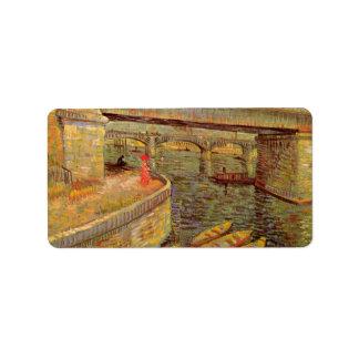 Bridges across the Seine at Asnieres by van Gogh Address Label