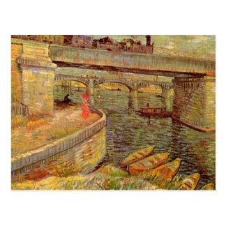 Bridges across the Seine at Asnieres by van Gogh Postcard