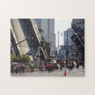 Bridges and Bicycles in Chicago Jigsaw Puzzle