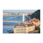 Bridges and Houses of Budapest Stretched Canvas Print