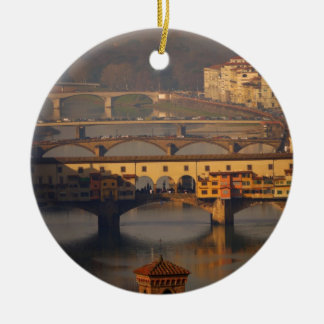 Bridges of the Arno River Double-Sided Ceramic Round Christmas Ornament