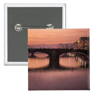 Bridges over the Arno River at sunset, 2 Button