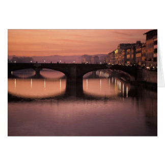 Bridges over the Arno River at sunset, 2 Card