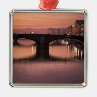 Bridges over the Arno River at sunset, 2 Metal Ornament