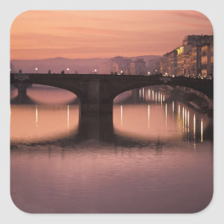 Bridges over the Arno River at sunset, 2 Square Sticker