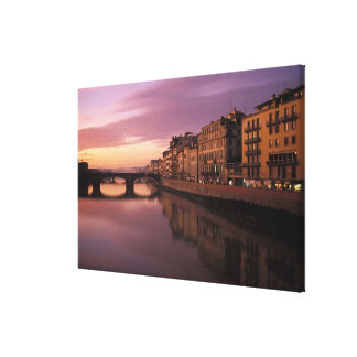 Bridges over the Arno River at sunset, Canvas Print