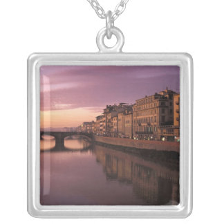 Bridges over the Arno River at sunset, Square Pendant Necklace