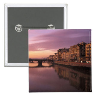 Bridges over the Arno River at sunset, Pinback Button