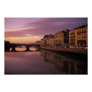 Bridges over the Arno River at sunset, Poster