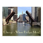 Bridges Raised for Sailboats on the Chicago River Postcard