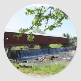Bridgeton Covered  Bridge and Mill Classic Round Sticker