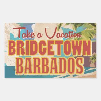 Bridgetown, Barbados Vintage Travel Poster Rectangular Sticker