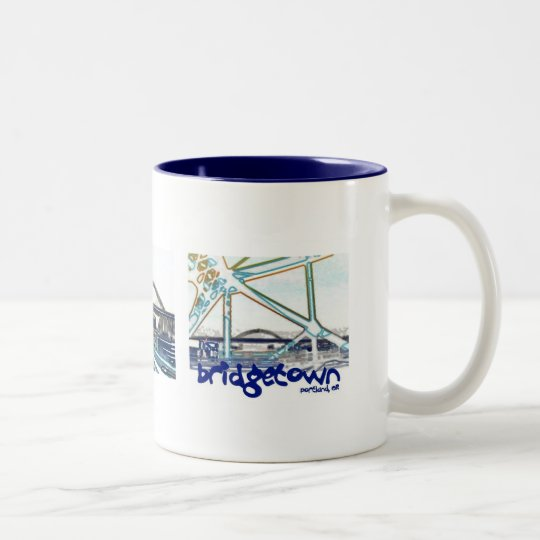 Portland Coffee Mug: Bridgetown Mug, Portland Oregon Two-Tone Coffee Mug