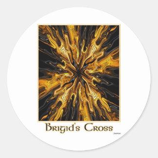 bridgits cross print round sticker