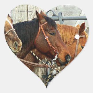 Bridled Horse Heads Heart Sticker