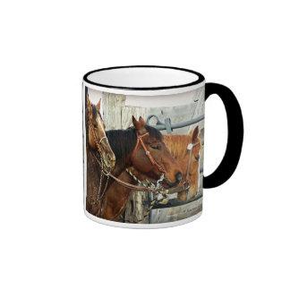 Bridled Horse Heads Ringer Coffee Mug