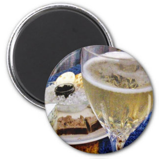 Brie Caviar Duck Pate And Champagne Fridge Magnet