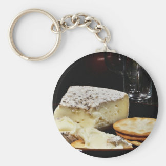 Brie Cheese And Crackers Basic Round Button Keychain