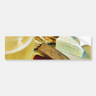 Brie Cheese Salmon Smoked Pate Crackers Champagne Bumper Stickers