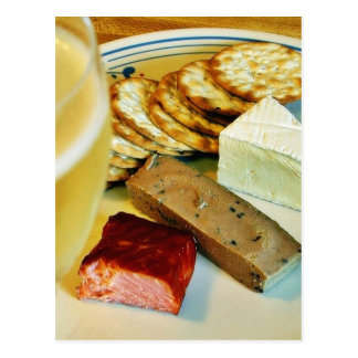 Brie Cheese Salmon Smoked Pate Crackers Champagne Postcard