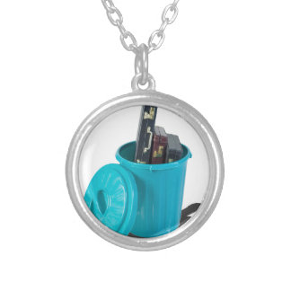 BriefcasesInGarbageCan061315.png Round Pendant Necklace
