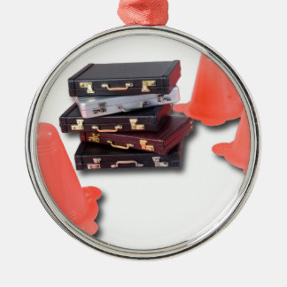 BriefcasesWithTrafficCones061315.png Metal Ornament