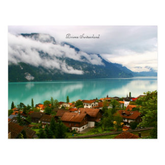 Brienz Switzerland & bluish green lake Brienzersee Postcard