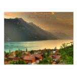 Brienz Switzerland & Lake Brienzersee & Swiss Alps Postcard