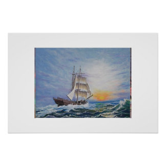 Brigantine On Lively Seas Poster