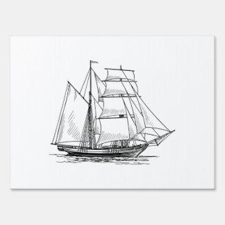 Brigantine Sailing Ship Lawn Sign