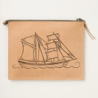 Brigantine Sailing Ship Leather Pouch