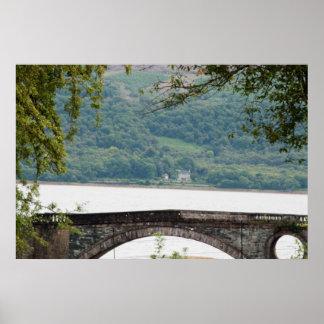 Brigde with lake behind poster