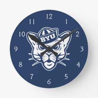 Brigham Young Cougar Round Clock