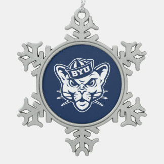 Brigham Young Cougar Snowflake Pewter Christmas Ornament