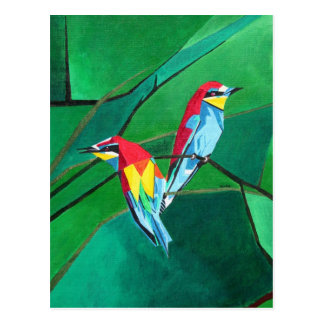 Brighly Colored European Bee-eaters Postcard
