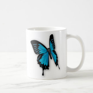 Brighly Hued Blue Butterfly Classic White Coffee Mug