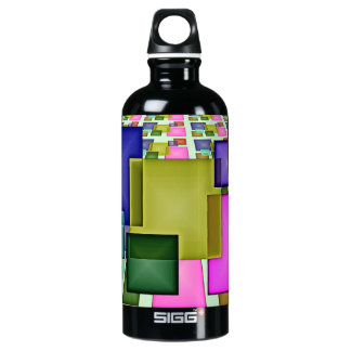 Bright 3-D Geometric Abstract Aluminum Water Bottle