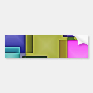 Bright 3-D Geometric Abstract Car Bumper Sticker