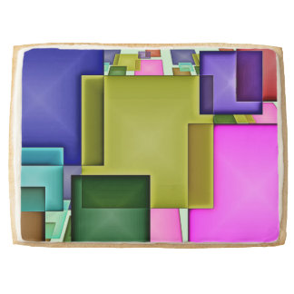 Bright 3-D Geometric Abstract Shortbread Cookie