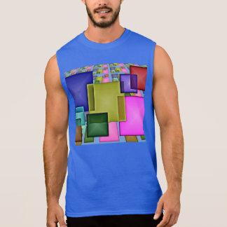 Bright 3-D Geometric Abstract Sleeveless Shirt