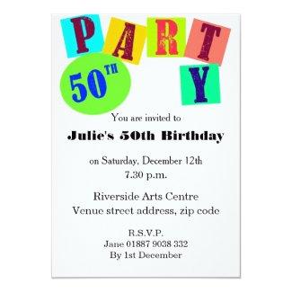 Bright 50th Birthday Party Invite