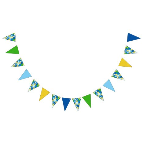 Bright 70's inspired daisy and solid color bunting flags