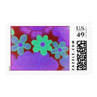 Bright 70's Retro Flower's Postage Stamp