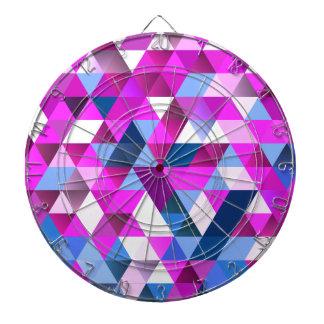 Bright Abscract Geometric Pattern Dartboard With Darts